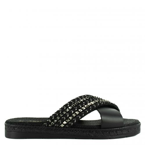 Black leather sandal with crossed bands