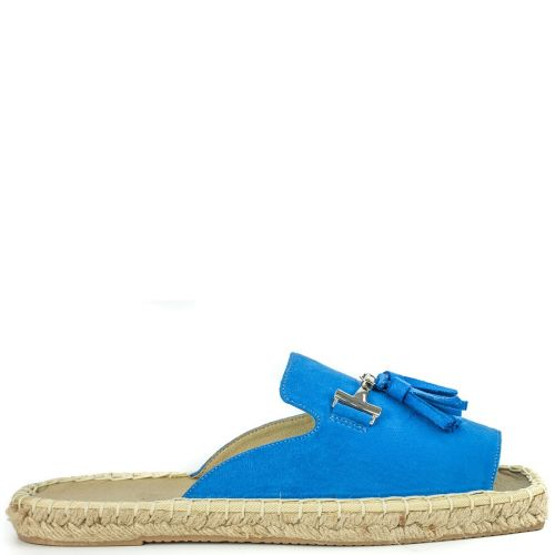 Royal blue espadrille in suede texture