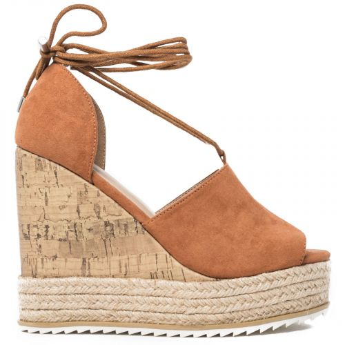 Tobacco lace-up platform in suede
