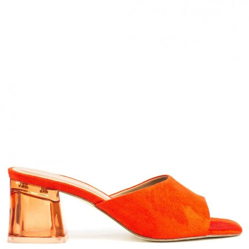 Orange sandal in suede texture