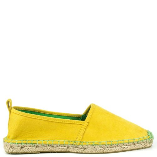 Yellow espadrille in suede texture