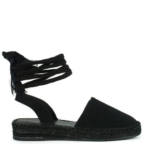 Black lace-up espadrille