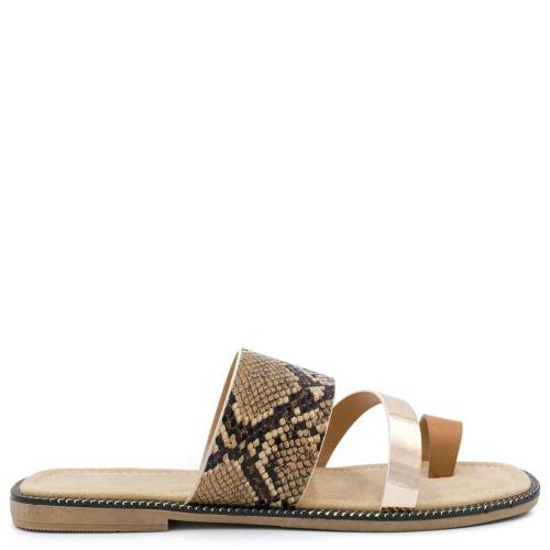 Tobacco snakeskin sandal
