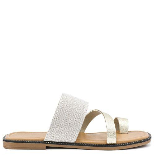 Gold linen sandal