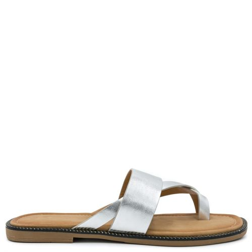 Silver sandal with band
