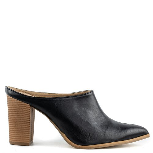 Black high heel leather mule