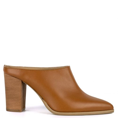 Tobacco high heel leather mule