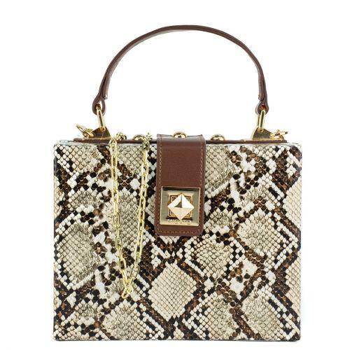 Μπεζ τσάντα mini box φιδι