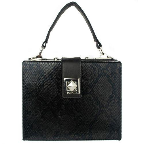 Μαύρη τσάντα mini box φιδι
