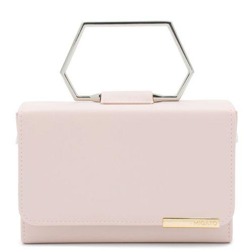 Pink handbag with metal handle