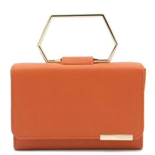 Πορτοκαλί τσαντάκι με μεταλλικό χερούλι