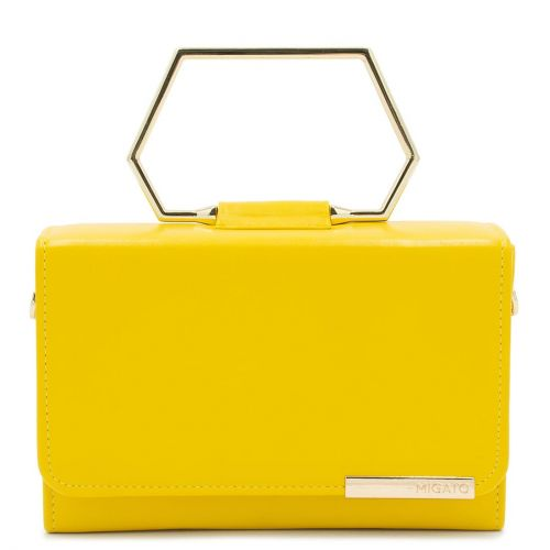 Yellow handbag with metal handle