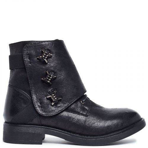 Black army boot with studs