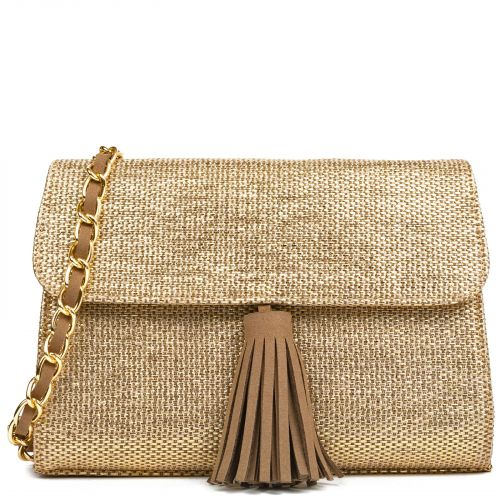 Gold straw bag