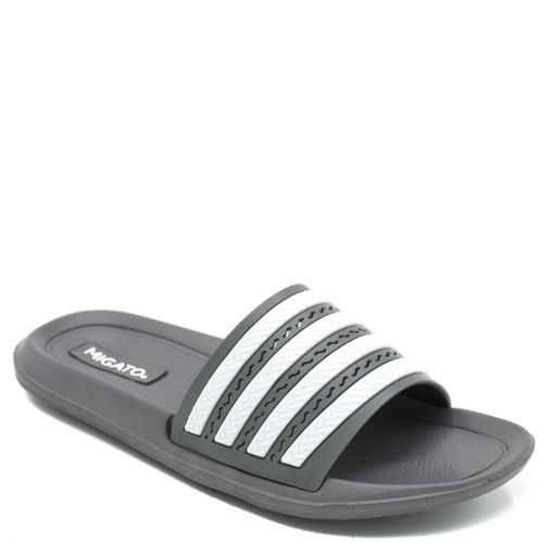 Kid's grey slides with decorative stripes on band