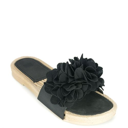 Black flip flop with band