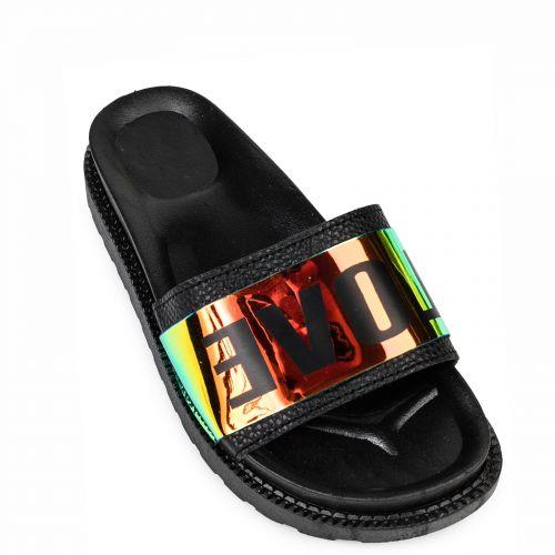 Black flip flop with print