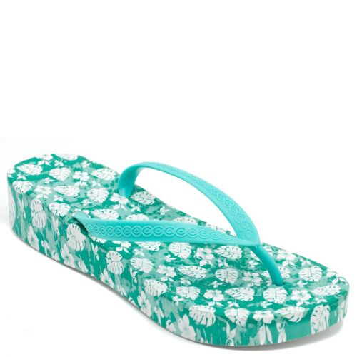 Women's green flip-flops with leaves print