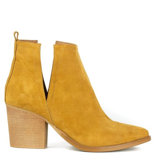 Tobacco leather western bootie