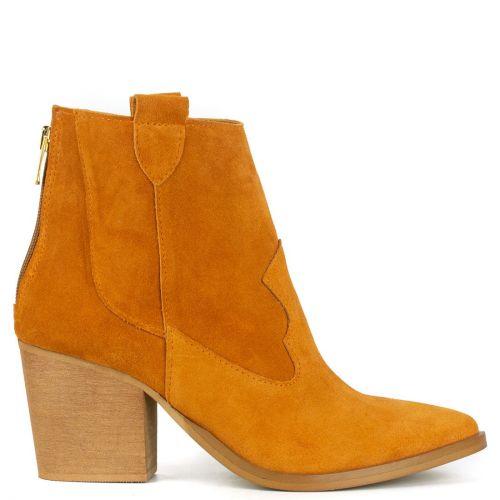 Orange leather western bootie