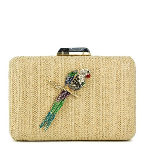 Beige clutch with a parrot