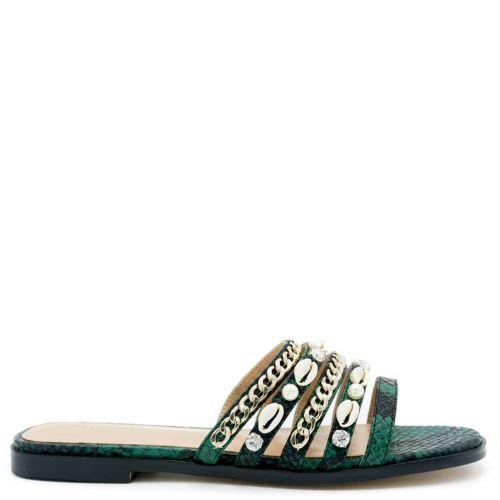 Green flat snakeskin sandal