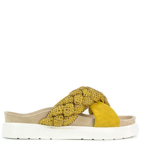 Yellow slide sandal with rhinestones