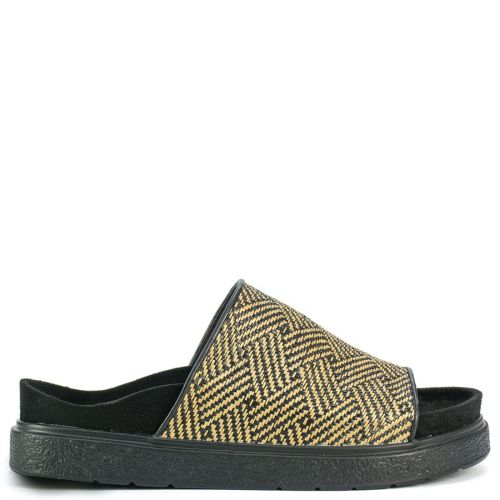 Black slide sandal with straw
