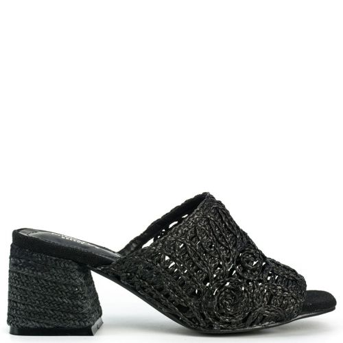 Black straw knitted mule