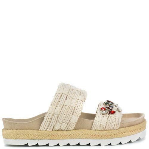 Beige slide sandal with rhinestones