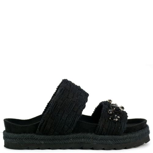 Black slide sandal with rhinestones