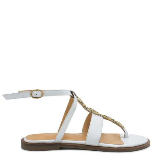 White flat leather sandal