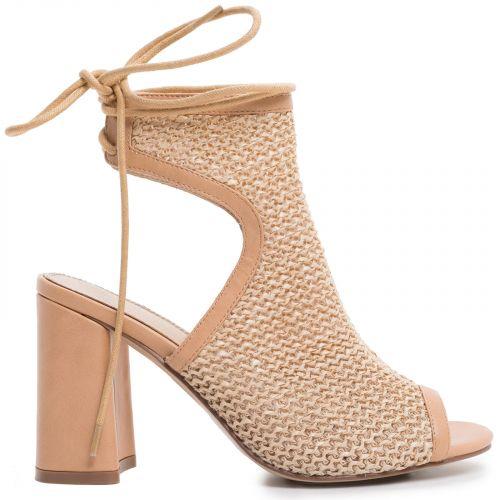 Beige lace-up high heel sandal