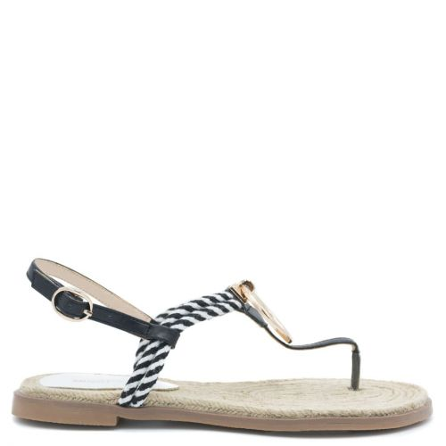 Sandal with black rope thong