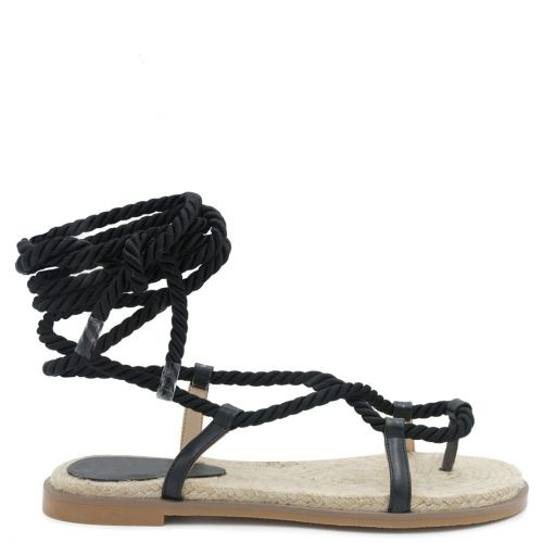 Black lace-up rope sandal