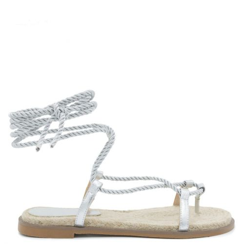 Silver lace-up rope sandal