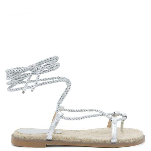 Ασημί lace-up σανδάλι με σκοινί