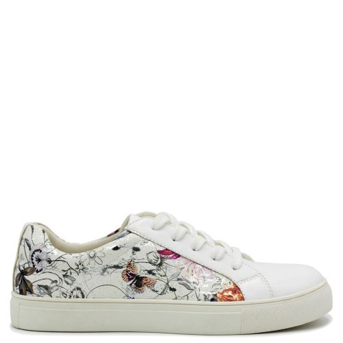 White sneaker with flower prints