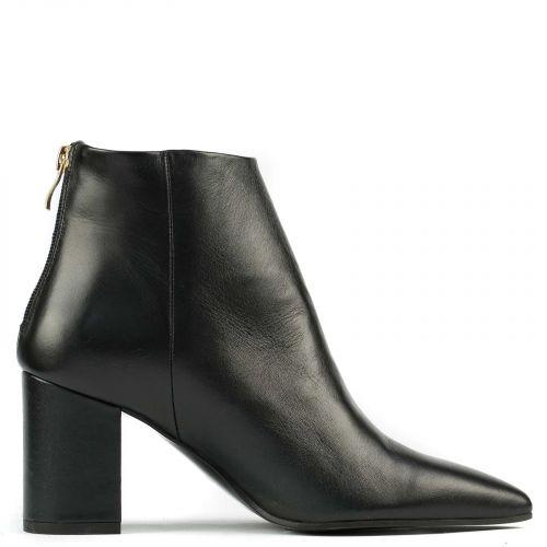 Black leather high heel bootie