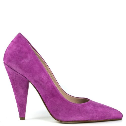 Fuchsia leather suede pump