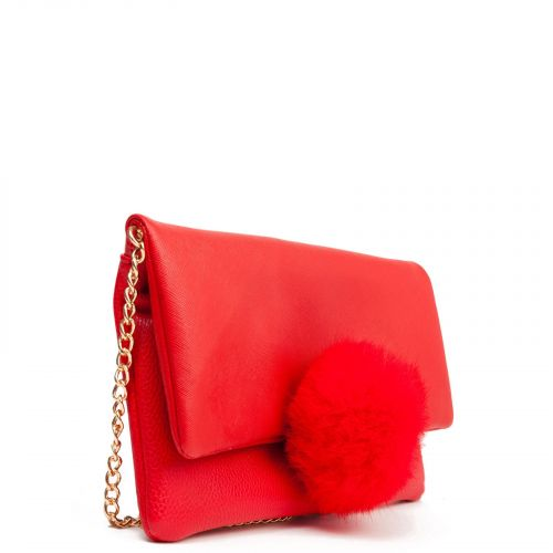 Red clutch with pom pom