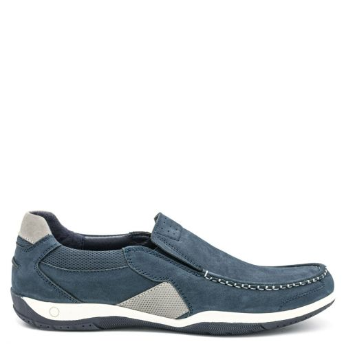 Men's navy leather boat shoe