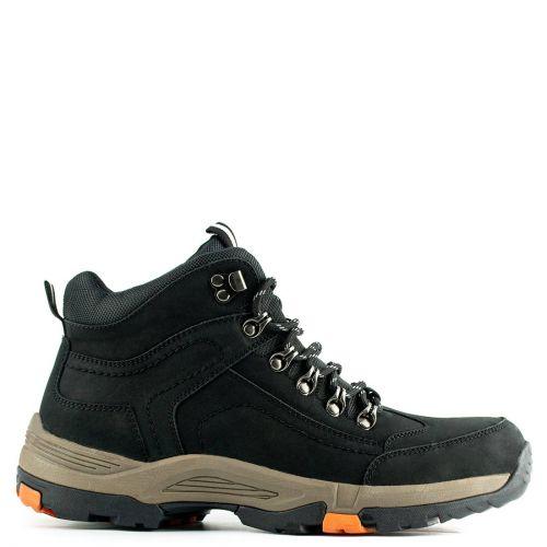 Men's black leather low cut boot