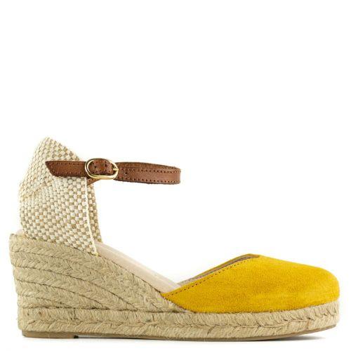 Yellow leather espadrille