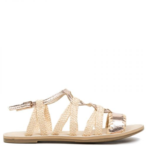 Pink gold sandal with rope
