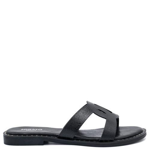 Black flat snakeskin sandal