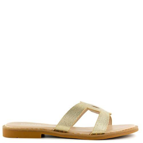Gold flat snakeskin sandal