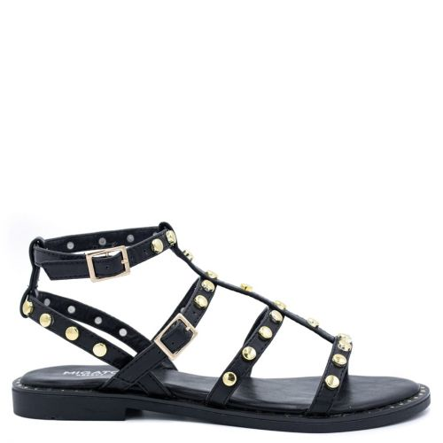 Black flat sandal with metal decoration