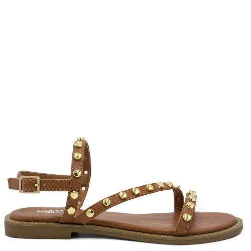 Tabacco flat sandal with metal decoration