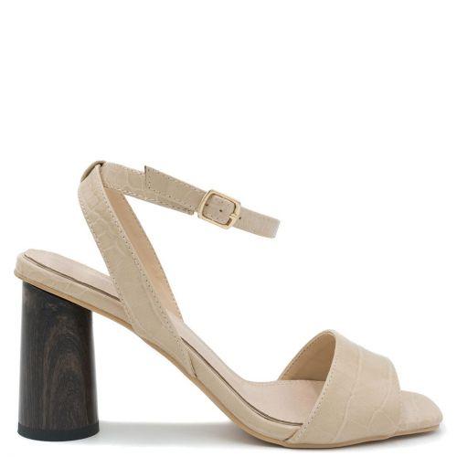 Beige faux croc sandal